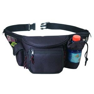 7 Zippers Fanny Pack w/ Bottle Holder/ Cell Phone Pouch/ Front Flap