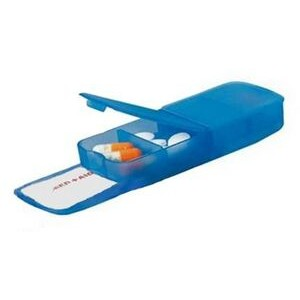 Pill Box - Two Compartment w/ Band Aid Tray Translucent Blue